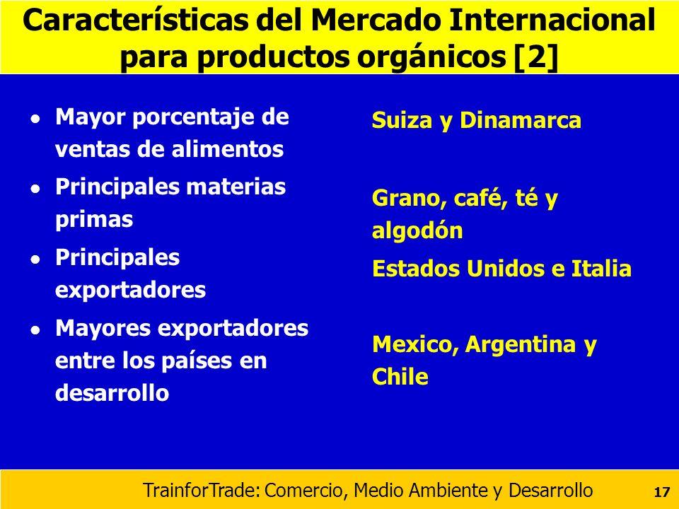 TrainforTrade: Comercio, Medio Ambiente y Desarrollo 17 Características del Mercado Internacional para productos orgánicos [2] l Mayor porcentaje de v