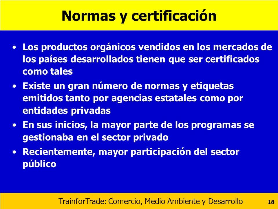 TrainforTrade: Comercio, Medio Ambiente y Desarrollo 18 Normas y certificación Los productos orgánicos vendidos en los mercados de los países desarrol