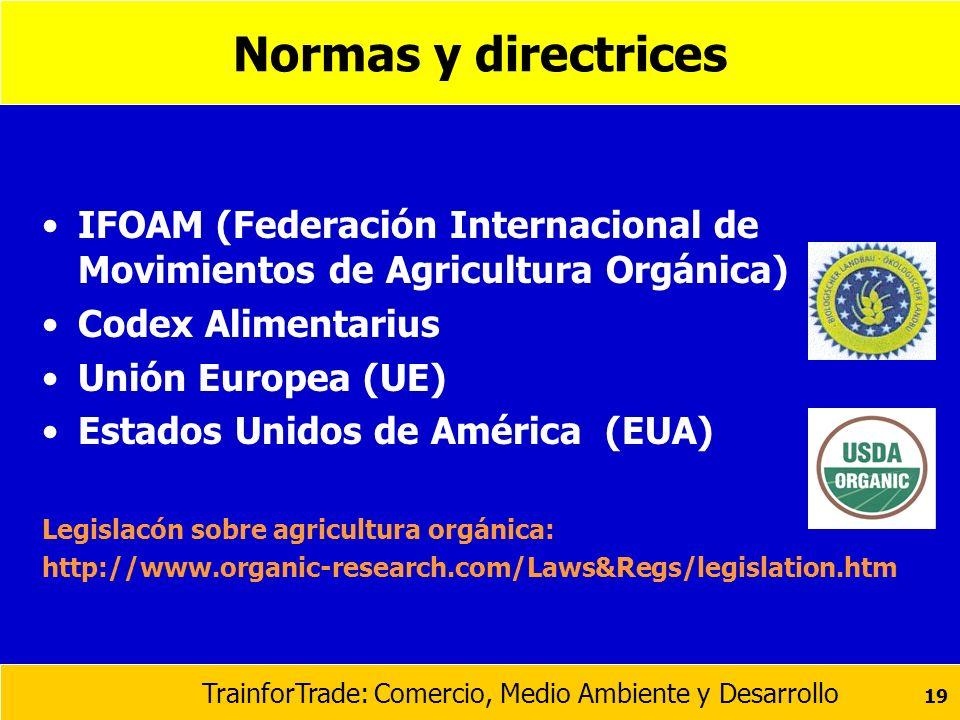 TrainforTrade: Comercio, Medio Ambiente y Desarrollo 19 Normas y directrices IFOAM (Federación Internacional de Movimientos de Agricultura Orgánica) C
