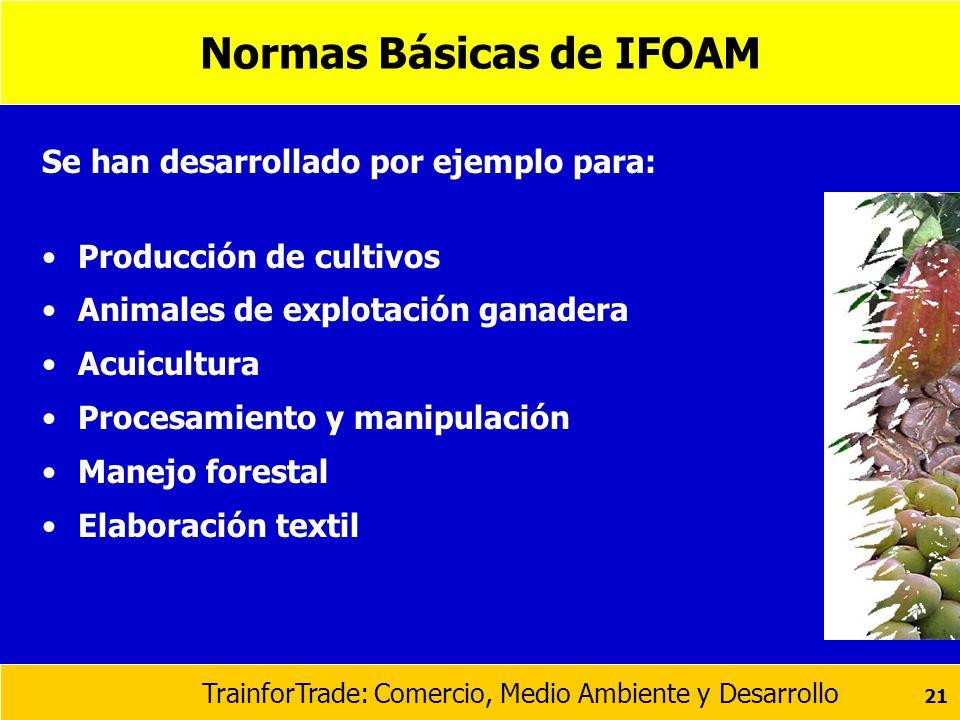 TrainforTrade: Comercio, Medio Ambiente y Desarrollo 21 Normas Básicas de IFOAM Se han desarrollado por ejemplo para: Producción de cultivos Animales