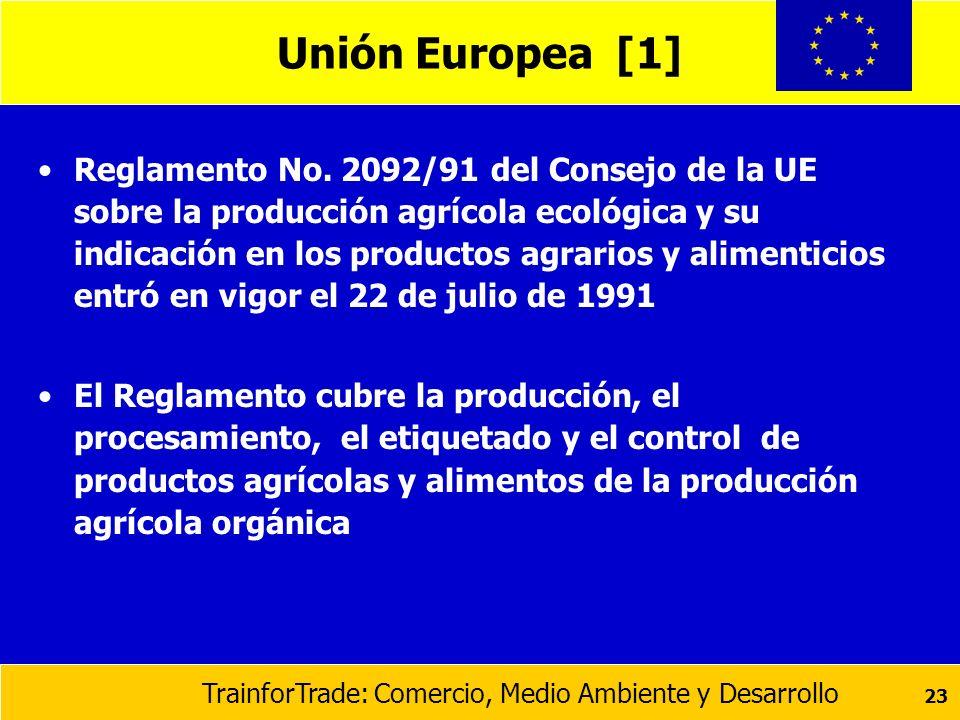 TrainforTrade: Comercio, Medio Ambiente y Desarrollo 23 Unión Europea [1] Reglamento No. 2092/91 del Consejo de la UE sobre la producción agrícola eco