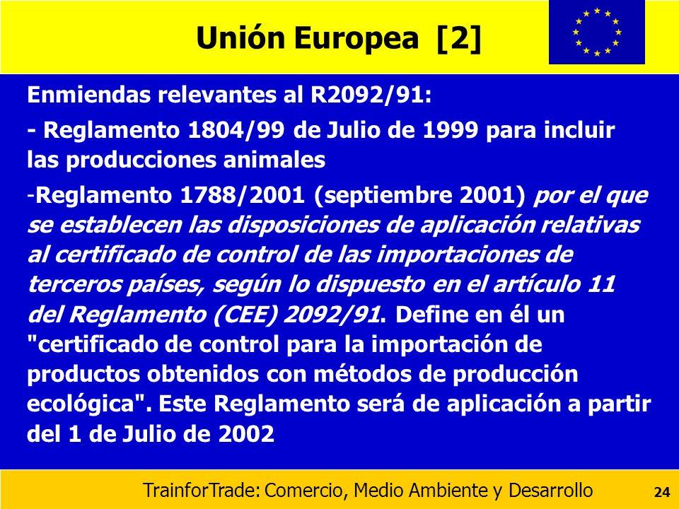 TrainforTrade: Comercio, Medio Ambiente y Desarrollo 24 Unión Europea [2] Enmiendas relevantes al R2092/91: - Reglamento 1804/99 de Julio de 1999 para