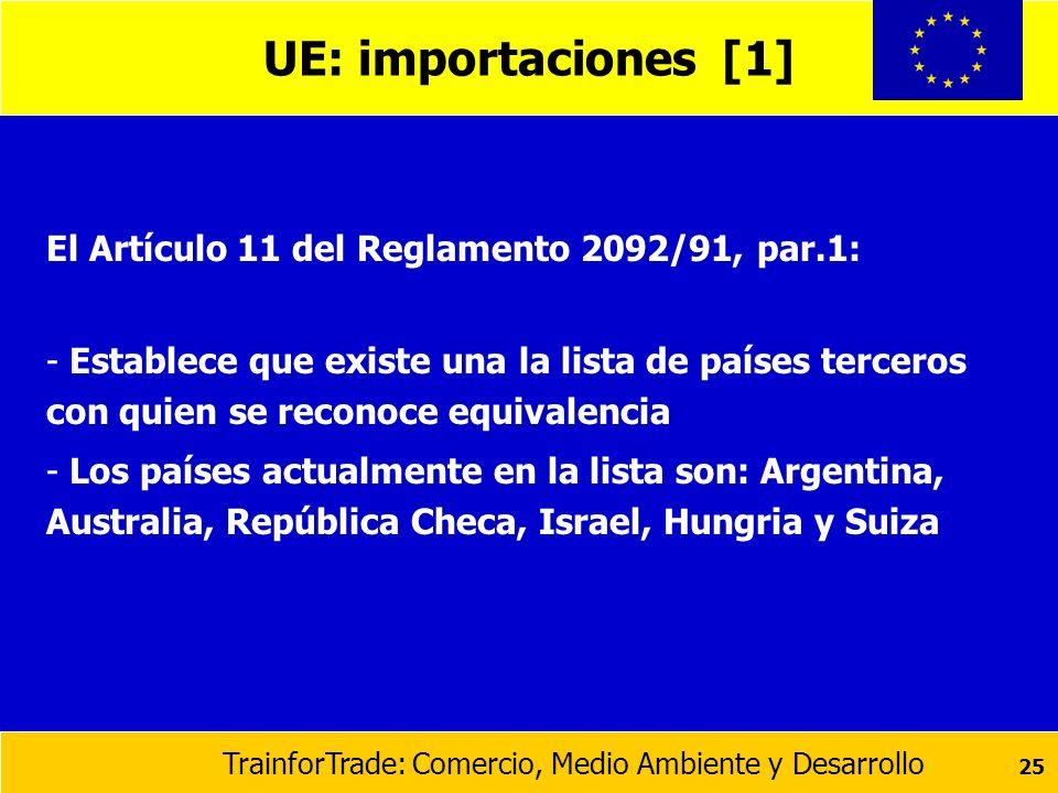 TrainforTrade: Comercio, Medio Ambiente y Desarrollo 25 UE: importaciones [1] El Artículo 11 del Reglamento 2092/91, par.1: - Establece que existe una