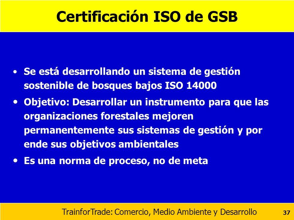 TrainforTrade: Comercio, Medio Ambiente y Desarrollo 37 Certificación ISO de GSB Se está desarrollando un sistema de gestión sostenible de bosques baj