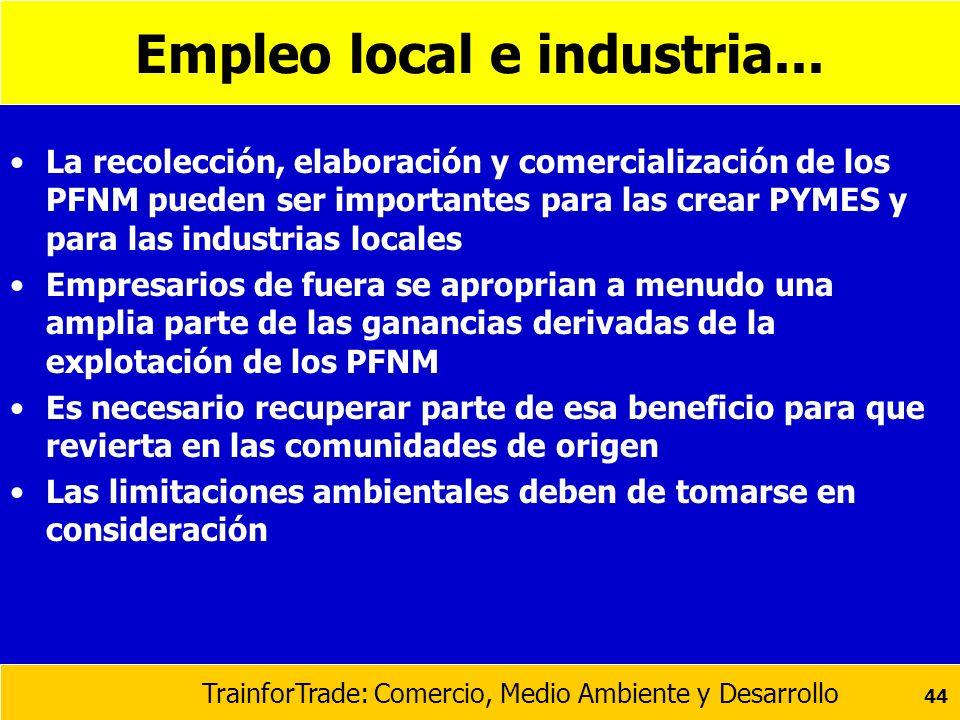 TrainforTrade: Comercio, Medio Ambiente y Desarrollo 44 Empleo local e industria... La recolección, elaboración y comercialización de los PFNM pueden