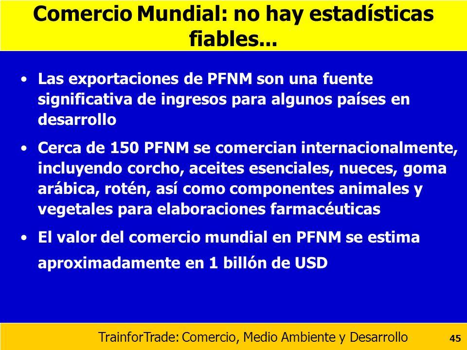 TrainforTrade: Comercio, Medio Ambiente y Desarrollo 45 Comercio Mundial: no hay estadísticas fiables... Las exportaciones de PFNM son una fuente sign
