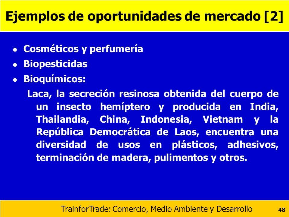 TrainforTrade: Comercio, Medio Ambiente y Desarrollo 48 Ejemplos de oportunidades de mercado [2] l Cosméticos y perfumería l Biopesticidas l Bioquímic