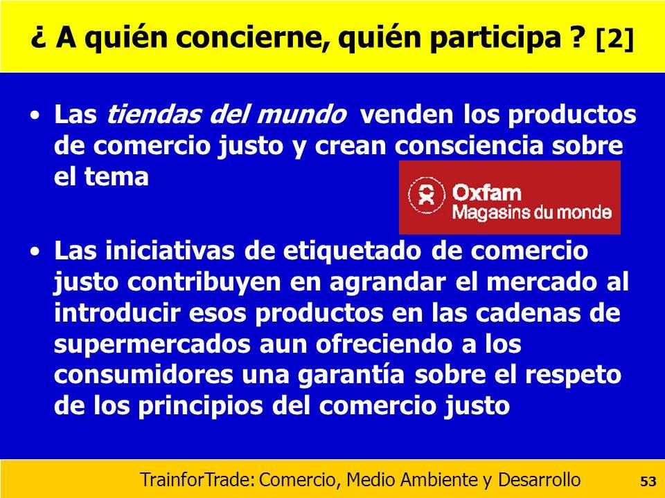 TrainforTrade: Comercio, Medio Ambiente y Desarrollo 53 ¿ A quién concierne, quién participa ? [2] Las tiendas del mundo venden los productos de comer