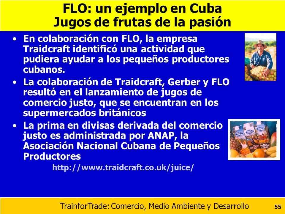 TrainforTrade: Comercio, Medio Ambiente y Desarrollo 55 FLO: un ejemplo en Cuba Jugos de frutas de la pasión En colaboración con FLO, la empresa Traid