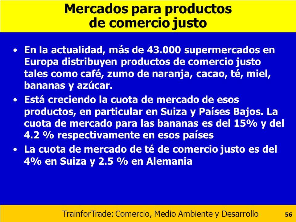 TrainforTrade: Comercio, Medio Ambiente y Desarrollo 56 Mercados para productos de comercio justo En la actualidad, más de 43.000 supermercados en Eur
