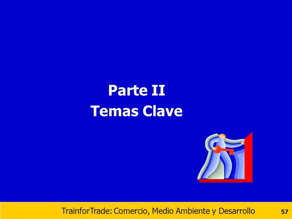 TrainforTrade: Comercio, Medio Ambiente y Desarrollo 57 Parte II Temas Clave