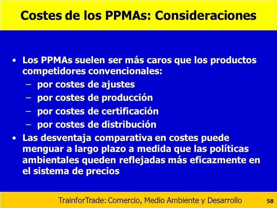 TrainforTrade: Comercio, Medio Ambiente y Desarrollo 58 Costes de los PPMAs: Consideraciones Los PPMAs suelen ser más caros que los productos competid