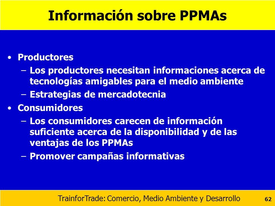 TrainforTrade: Comercio, Medio Ambiente y Desarrollo 62 Información sobre PPMAs Productores –Los productores necesitan informaciones acerca de tecnolo