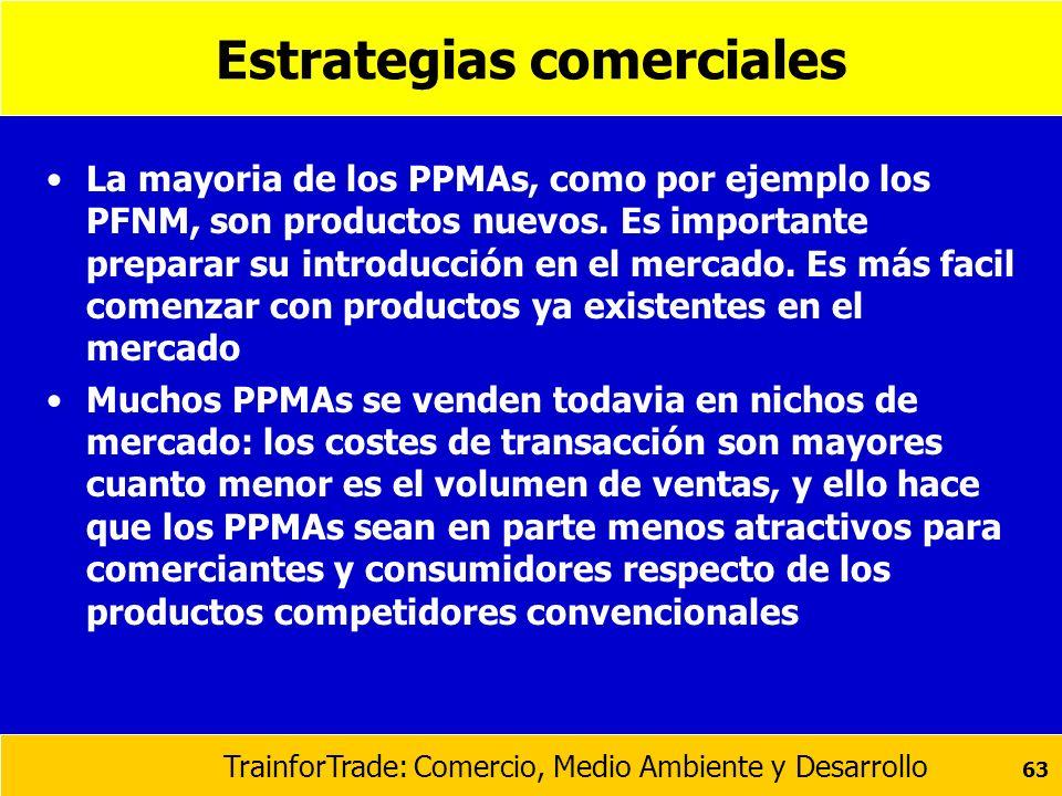 TrainforTrade: Comercio, Medio Ambiente y Desarrollo 63 Estrategias comerciales La mayoria de los PPMAs, como por ejemplo los PFNM, son productos nuev