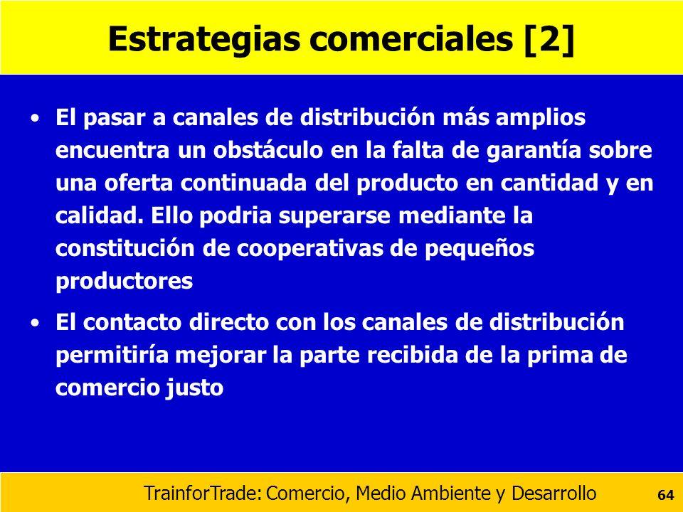 TrainforTrade: Comercio, Medio Ambiente y Desarrollo 64 Estrategias comerciales [2] El pasar a canales de distribución más amplios encuentra un obstác