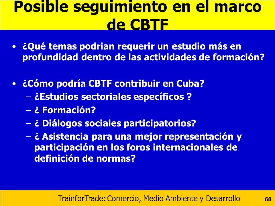 TrainforTrade: Comercio, Medio Ambiente y Desarrollo 68 Posible seguimiento en el marco de CBTF ¿Qué temas podrian requerir un estudio más en profundi