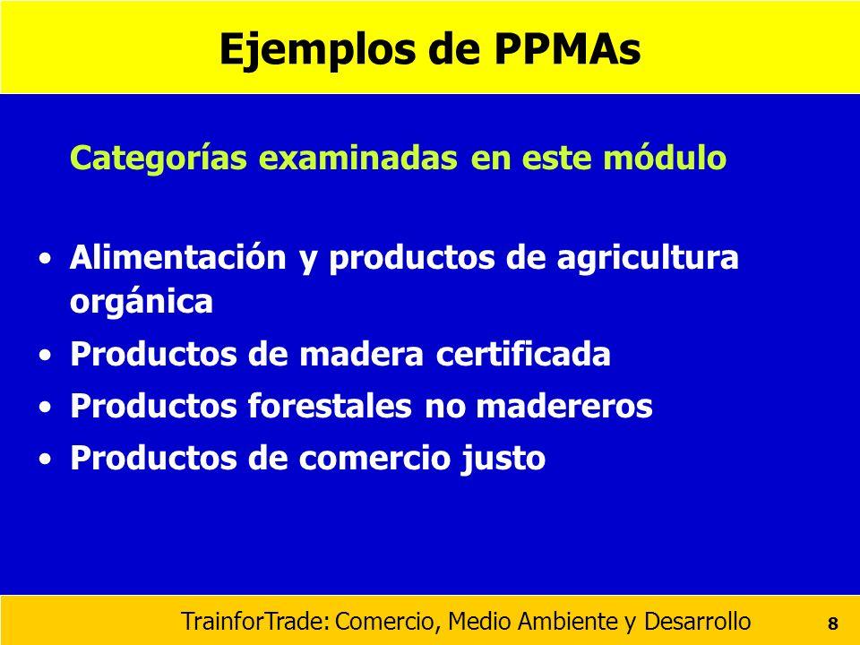 TrainforTrade: Comercio, Medio Ambiente y Desarrollo 8 Ejemplos de PPMAs Categorías examinadas en este módulo Alimentación y productos de agricultura