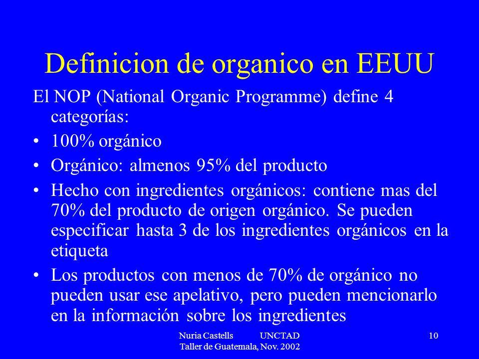 Nuria Castells UNCTAD Taller de Guatemala, Nov. 2002 10 Definicion de organico en EEUU El NOP (National Organic Programme) define 4 categorías: 100% o