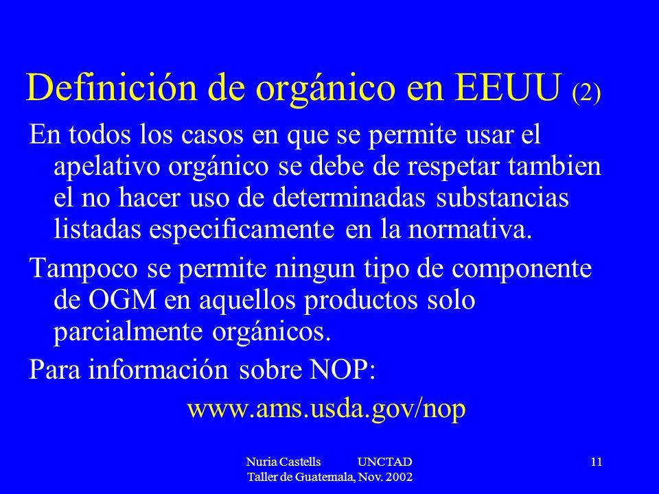 Nuria Castells UNCTAD Taller de Guatemala, Nov. 2002 11 Definición de orgánico en EEUU (2) En todos los casos en que se permite usar el apelativo orgá