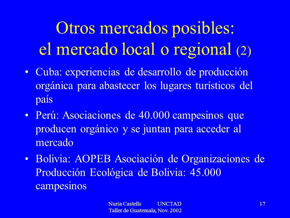 Nuria Castells UNCTAD Taller de Guatemala, Nov. 2002 17 Otros mercados posibles: el mercado local o regional (2) Cuba: experiencias de desarrollo de p