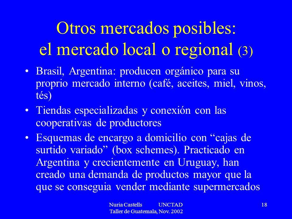 Nuria Castells UNCTAD Taller de Guatemala, Nov. 2002 18 Otros mercados posibles: el mercado local o regional (3) Brasil, Argentina: producen orgánico