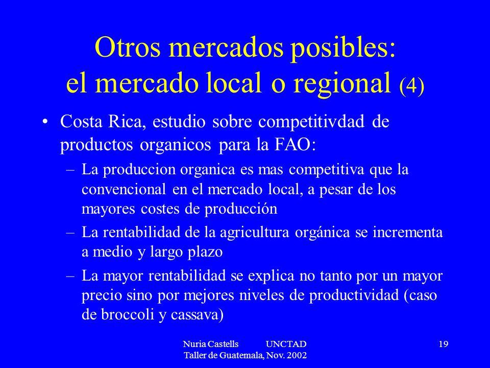 Nuria Castells UNCTAD Taller de Guatemala, Nov. 2002 19 Otros mercados posibles: el mercado local o regional (4) Costa Rica, estudio sobre competitivd