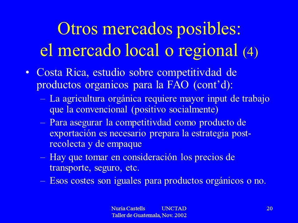Nuria Castells UNCTAD Taller de Guatemala, Nov. 2002 20 Otros mercados posibles: el mercado local o regional (4) Costa Rica, estudio sobre competitivd