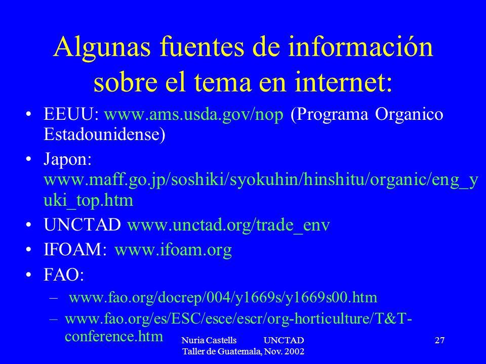 Nuria Castells UNCTAD Taller de Guatemala, Nov. 2002 27 Algunas fuentes de información sobre el tema en internet: EEUU: www.ams.usda.gov/nop (Programa