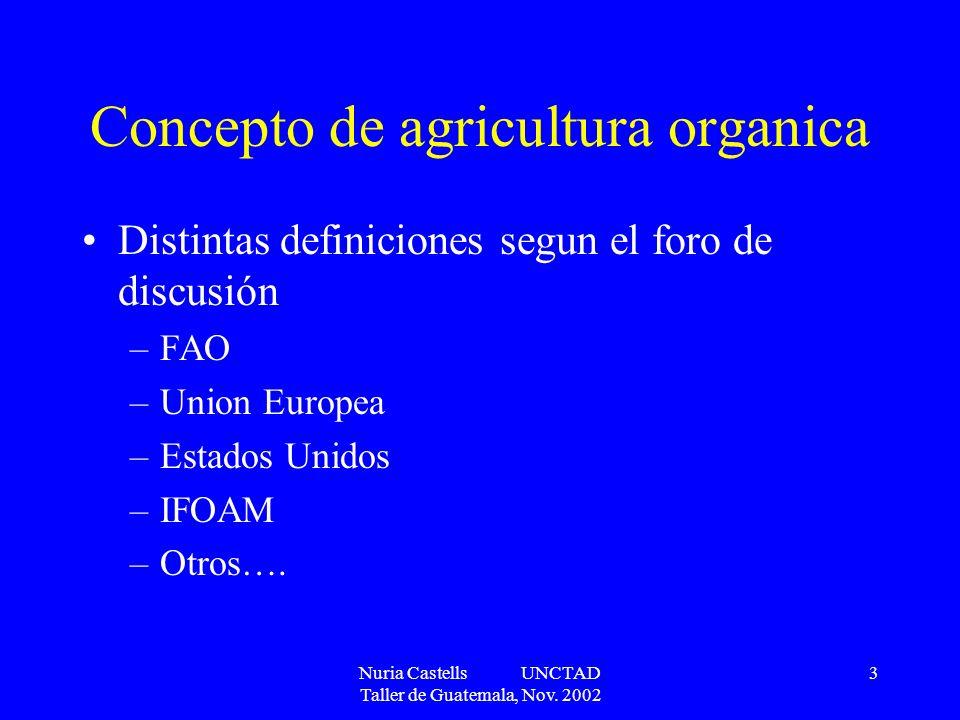 Nuria Castells UNCTAD Taller de Guatemala, Nov. 2002 3 Concepto de agricultura organica Distintas definiciones segun el foro de discusión –FAO –Union