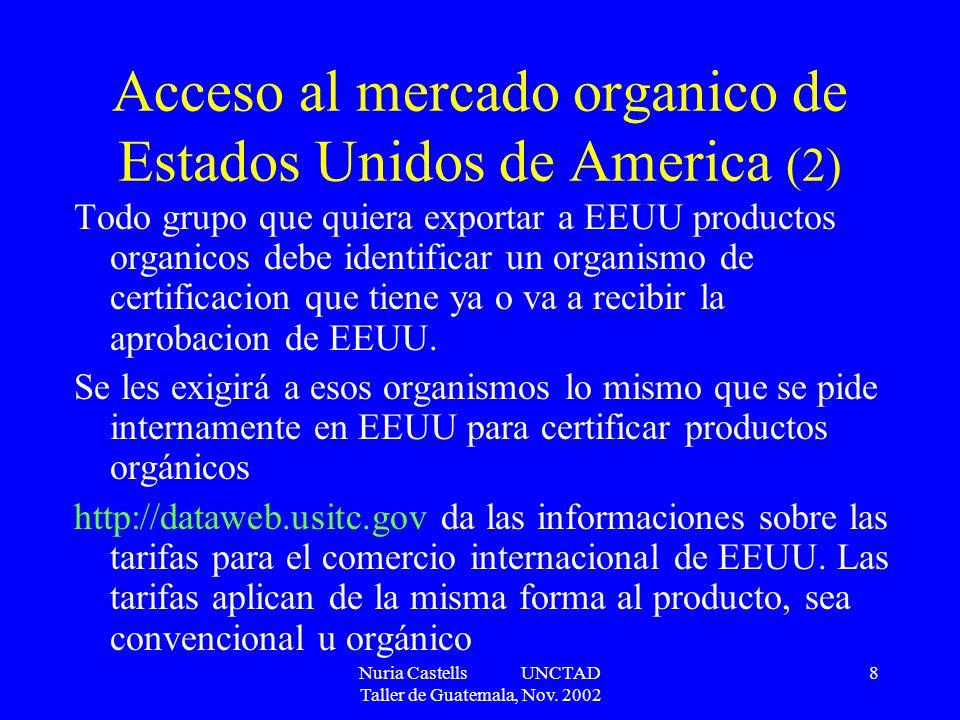 Nuria Castells UNCTAD Taller de Guatemala, Nov. 2002 8 Acceso al mercado organico de Estados Unidos de America (2) Todo grupo que quiera exportar a EE