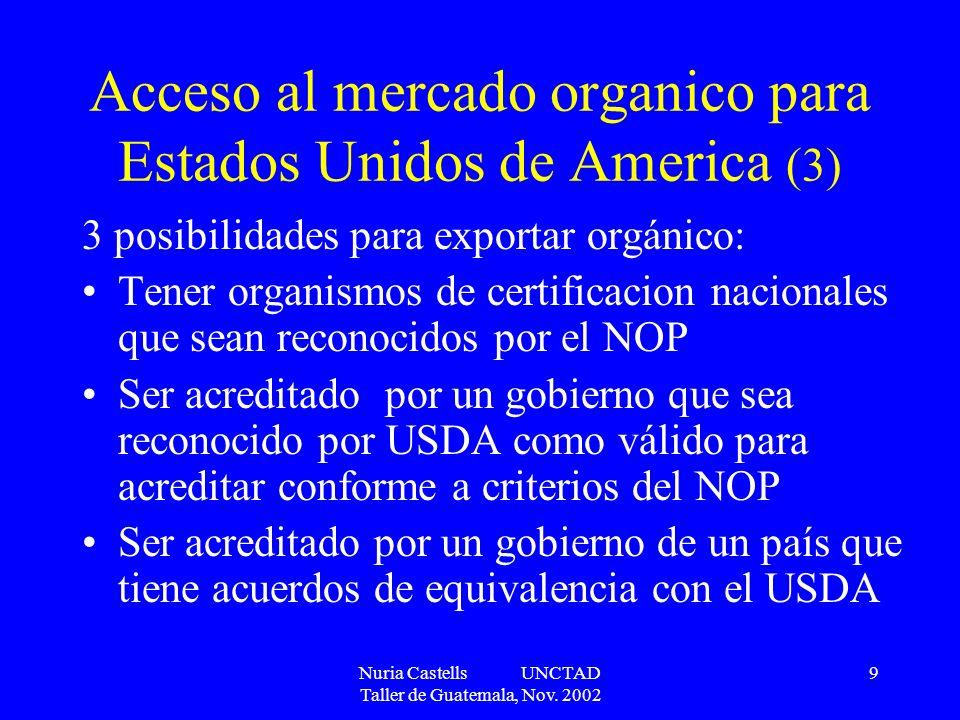 Nuria Castells UNCTAD Taller de Guatemala, Nov. 2002 9 Acceso al mercado organico para Estados Unidos de America (3) 3 posibilidades para exportar org