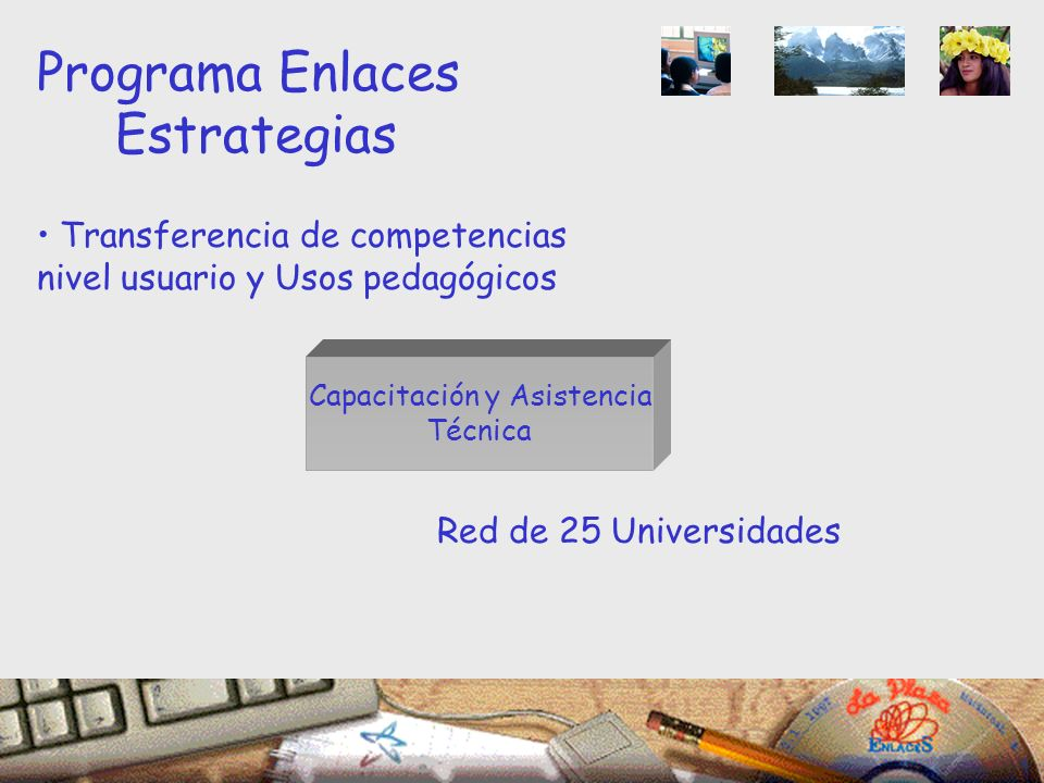 Capacitación y Asistencia Técnica Programa Enlaces Estrategias Transferencia de competencias nivel usuario y Usos pedagógicos Red de 25 Universidades