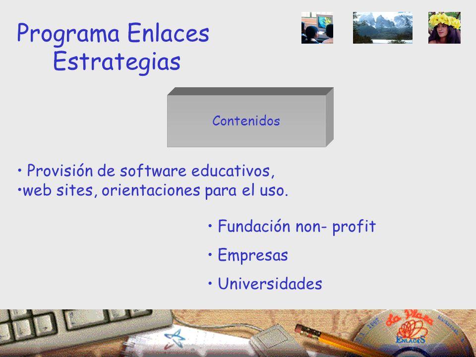 Contenidos Programa Enlaces Estrategias Provisión de software educativos, web sites, orientaciones para el uso.
