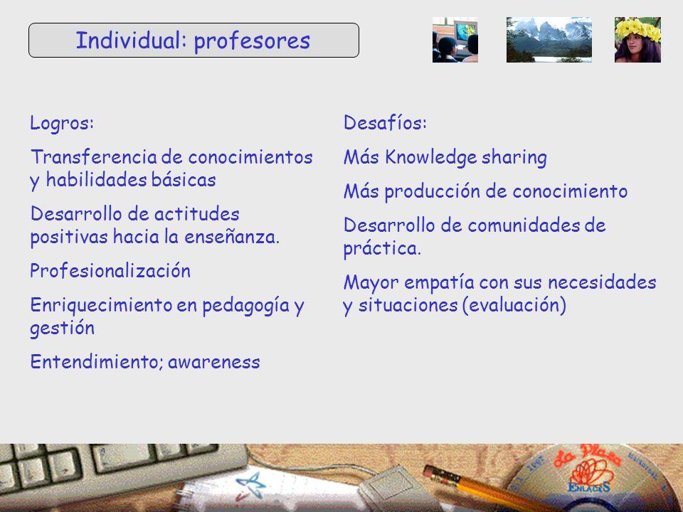 Logros: Transferencia de conocimientos y habilidades básicas Desarrollo de actitudes positivas hacia la enseñanza.