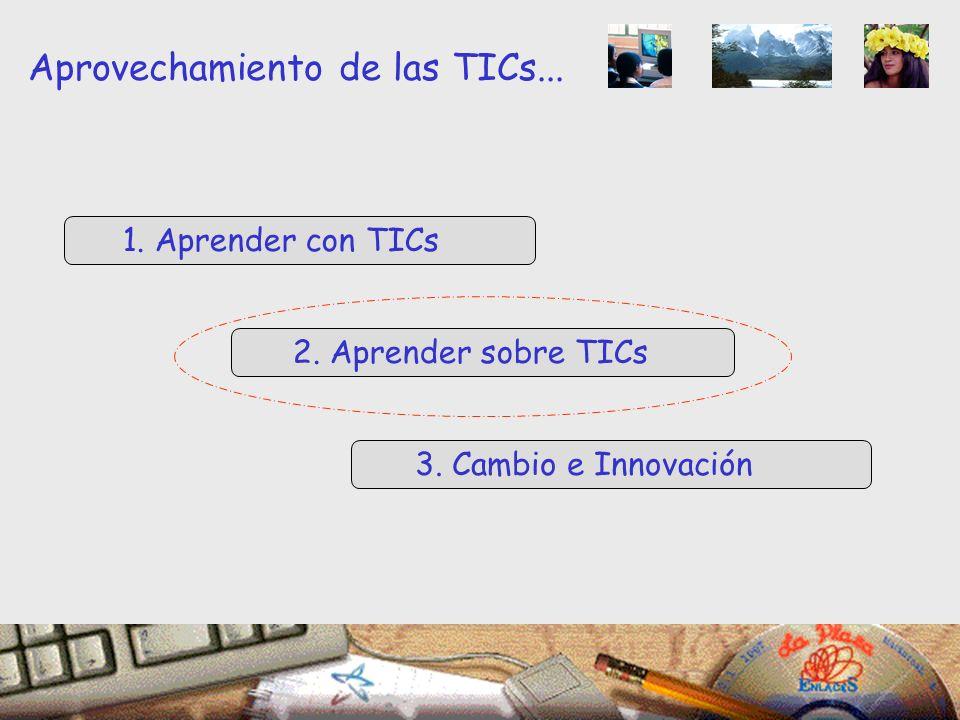 1. Aprender con TICs 2. Aprender sobre TICs 3. Cambio e Innovación Aprovechamiento de las TICs...