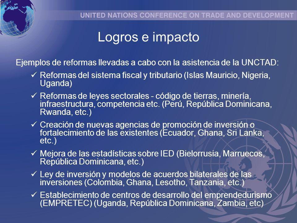 Ejemplos de reformas llevadas a cabo con la asistencia de la UNCTAD: Reformas del sistema fiscal y tributario (Islas Mauricio, Nigeria, Uganda) Reformas de leyes sectorales - código de tierras, minería, infraestructura, competencia etc.