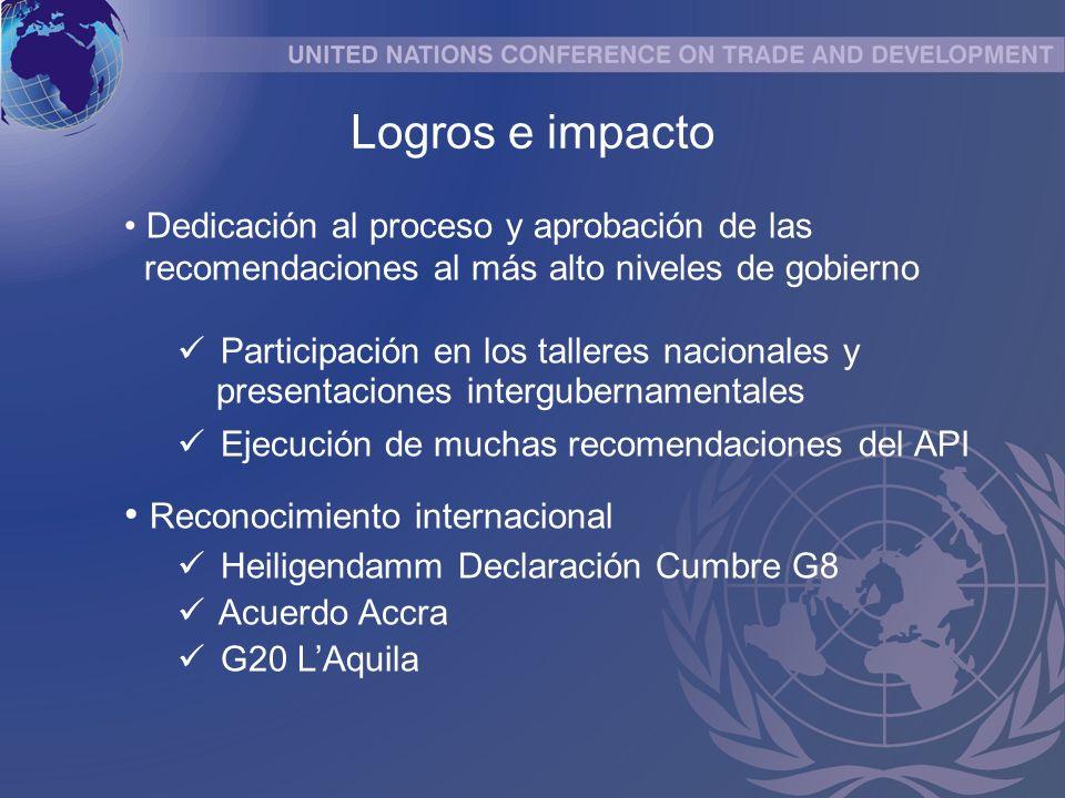 Dedicación al proceso y aprobación de las recomendaciones al más alto niveles de gobierno Participación en los talleres nacionales y presentaciones intergubernamentales Ejecución de muchas recomendaciones del API Reconocimiento internacional Heiligendamm Declaración Cumbre G8 Acuerdo Accra G20 LAquila