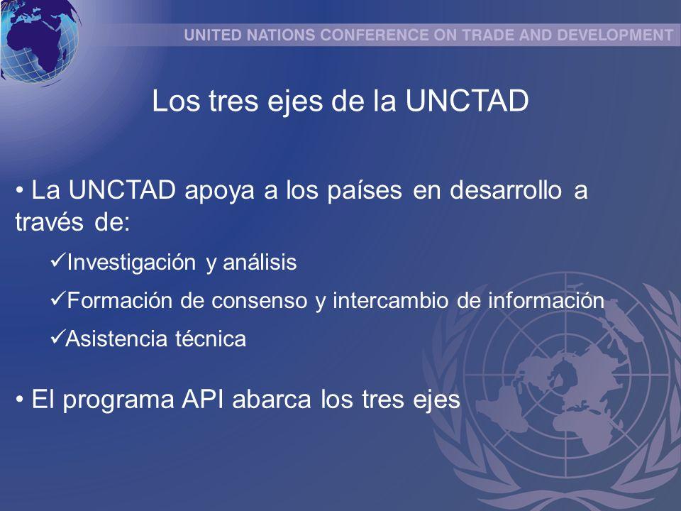 La UNCTAD apoya a los países en desarrollo a través de: Investigación y análisis Formación de consenso y intercambio de información Asistencia técnica Los tres ejes de la UNCTAD El programa API abarca los tres ejes