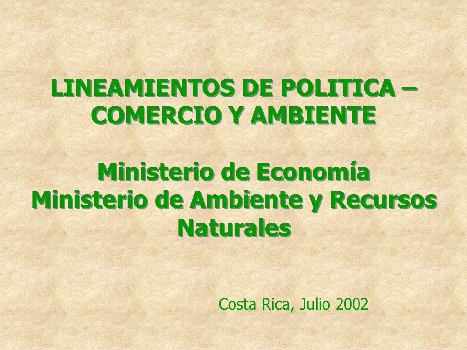 LINEAMIENTOS DE POLITICA – COMERCIO Y AMBIENTE Ministerio de Economía Ministerio de Ambiente y Recursos Naturales Costa Rica, Julio 2002