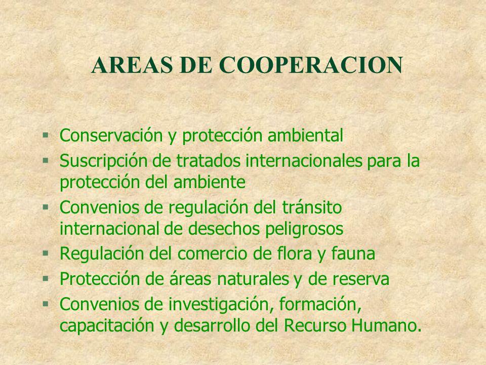 AREAS DE COOPERACION §Conservación y protección ambiental §Suscripción de tratados internacionales para la protección del ambiente §Convenios de regul