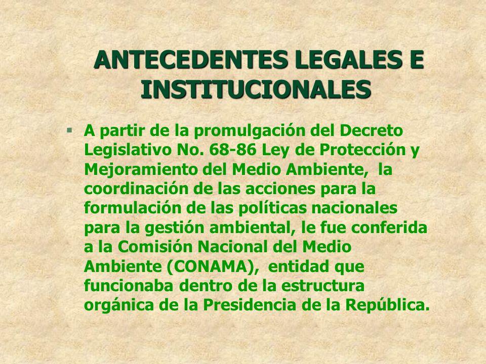 ANTECEDENTES LEGALES E INSTITUCIONALES ANTECEDENTES LEGALES E INSTITUCIONALES §A partir de la promulgación del Decreto Legislativo No. 68-86 Ley de Pr