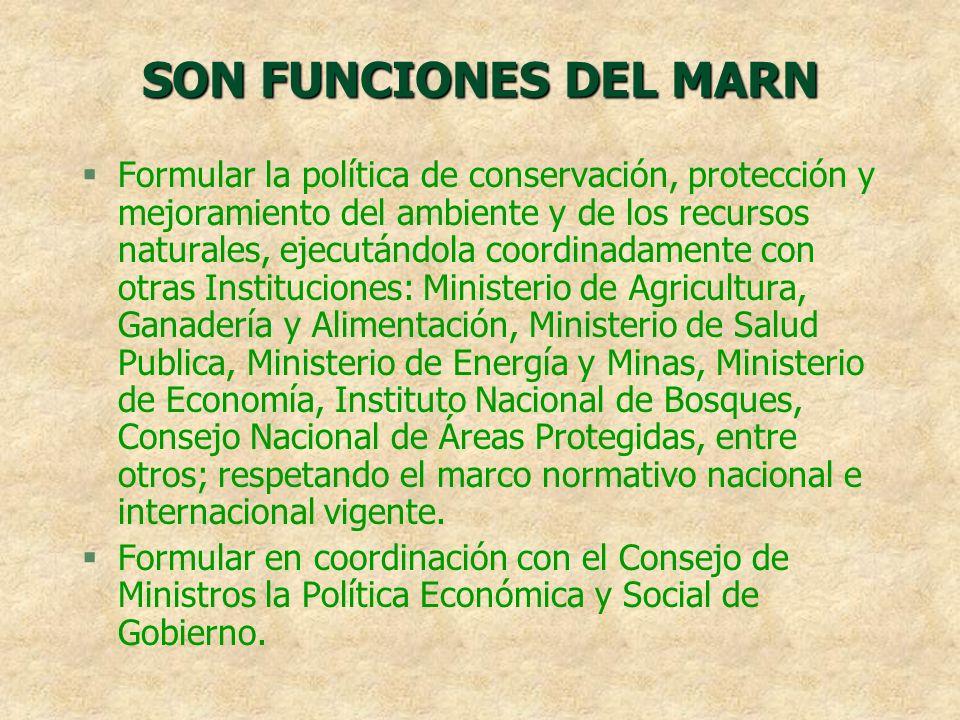 SON FUNCIONES DEL MARN §Formular la política de conservación, protección y mejoramiento del ambiente y de los recursos naturales, ejecutándola coordin