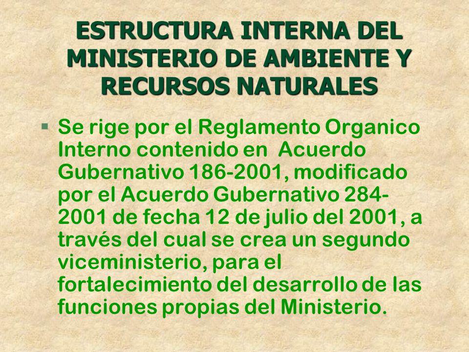 ESTRUCTURA INTERNA DEL MINISTERIO DE AMBIENTE Y RECURSOS NATURALES §Se rige por el Reglamento Organico Interno contenido en Acuerdo Gubernativo 186-20