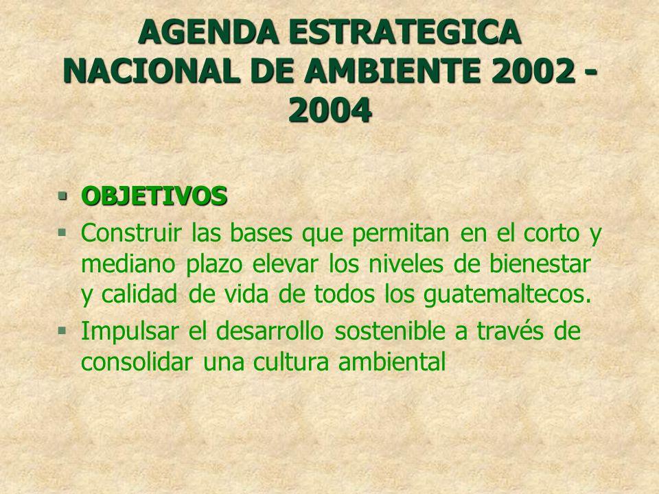AGENDA ESTRATEGICA NACIONAL DE AMBIENTE 2002 - 2004 §OBJETIVOS §Construir las bases que permitan en el corto y mediano plazo elevar los niveles de bie