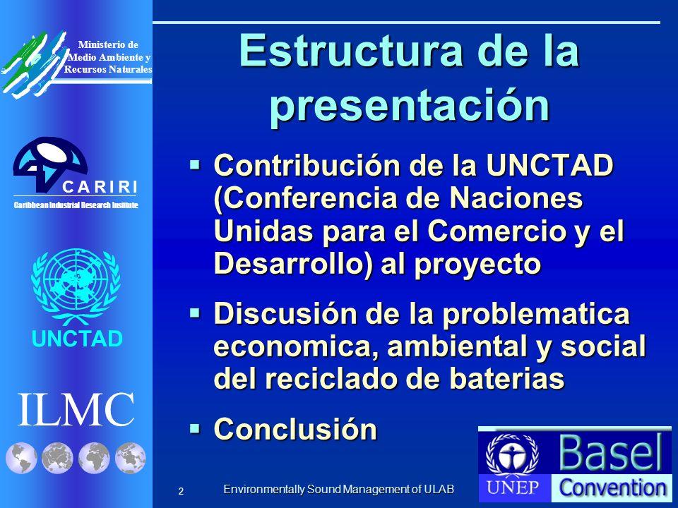 Environmentally Sound Management of ULAB ILMC UNCTAD Caribbean Industrial Research Institute CRRIIA Ministerio de Medio Ambiente y Recursos Naturales