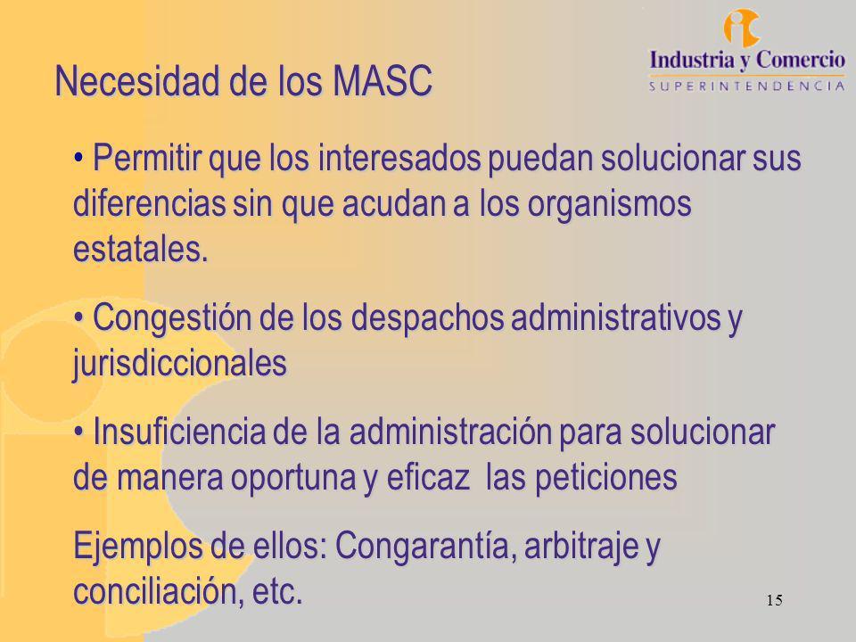 15 Necesidad de los MASC Permitir que los interesados puedan solucionar sus diferencias sin que acudan a los organismos estatales.