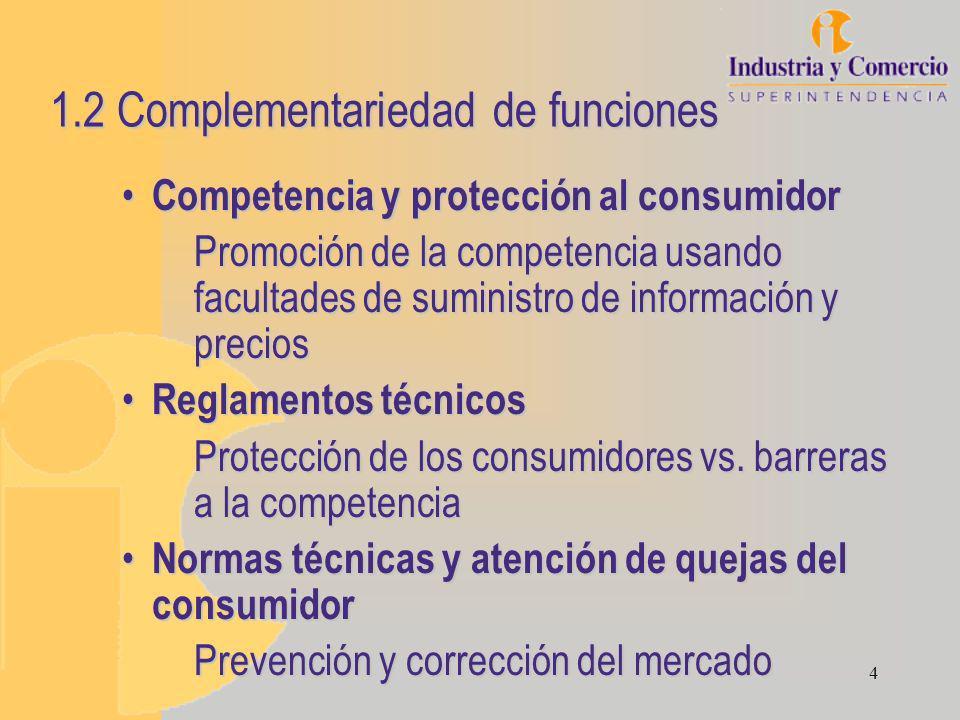 4 1.2 Complementariedad de funciones Competencia y protección al consumidor Competencia y protección al consumidor Promoción de la competencia usando facultades de suministro de información y precios Reglamentos técnicos Reglamentos técnicos Protección de los consumidores vs.