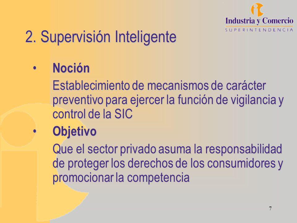 7 2. Supervisión Inteligente Noción Noción Establecimiento de mecanismos de carácter preventivo para ejercer la función de vigilancia y control de la