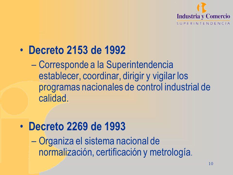 10 Decreto 2153 de 1992 –Corresponde a la Superintendencia establecer, coordinar, dirigir y vigilar los programas nacionales de control industrial de