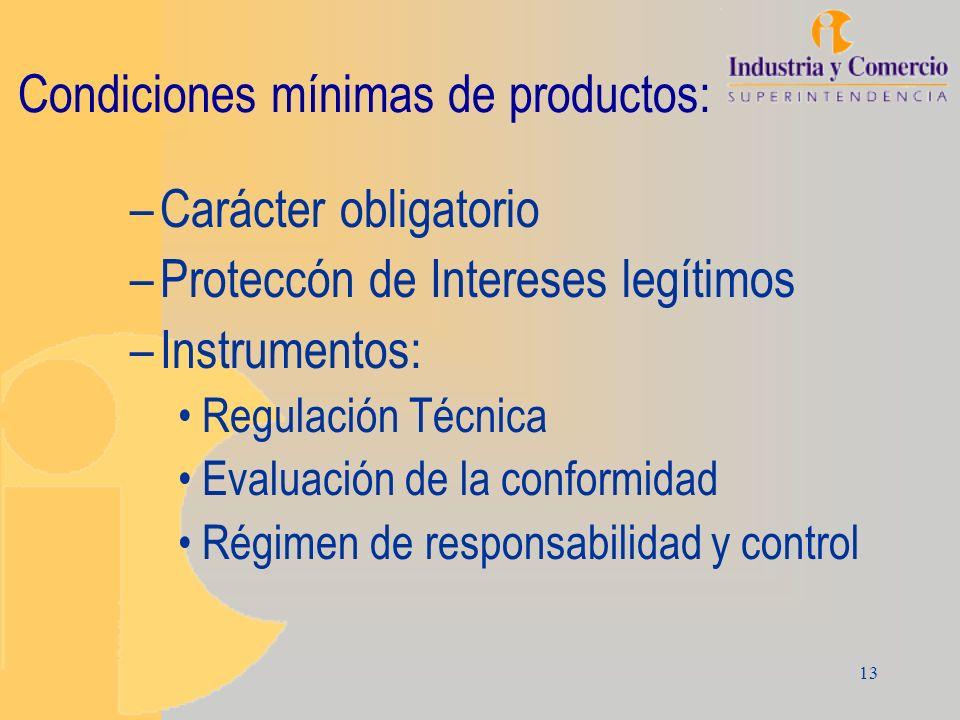 13 Condiciones mínimas de productos: –Carácter obligatorio –Proteccón de Intereses legítimos –Instrumentos: Regulación Técnica Evaluación de la confor